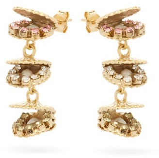 Rosantica Basquiat Crystal & Faux-pearl Clam Earrings - Womens - Gold