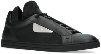 Fendi Leather Contrast Trim Sneakers
