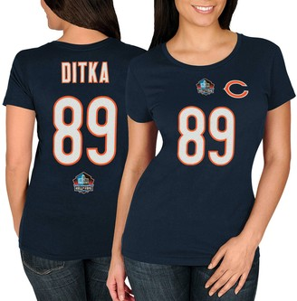 Majestic Women's Mike Ditka Navy Chicago Bears Hall of Fame Fair Catch V T-Shirt