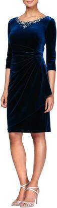 Alex Evenings Beaded Side Ruched Velvet Cocktail Dress