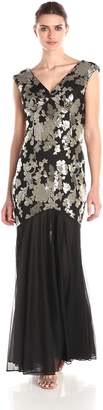 Marina Women's Long Gown in Sequin Embroidered Lace with Sheer Matte Jersey Skirt
