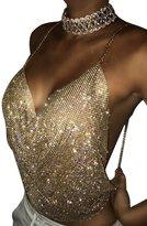 Glamaker Women's Sexy Clubwear Rhinestones Crop Top Backless Diamond Tank Sleeveless