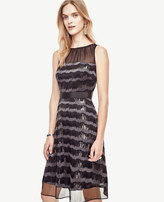 Ann Taylor Sequin Stripe Flare Dress
