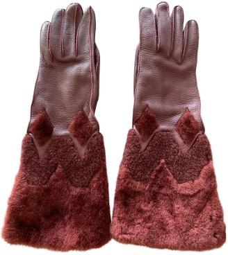 Burberry Burgundy Shearling Gloves