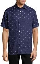 Saks Fifth Avenue BLACK Men's Anchor-Print Linen Button-Down Shirt