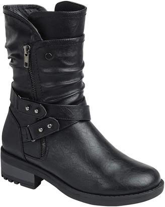 Moca moca Women's Casual boots BLACK - Black Cross-Strap Earn Boot - Women