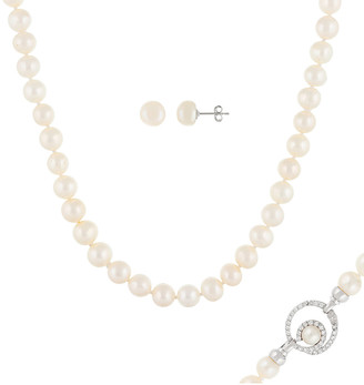 Splendid Pearls Rhodium Plated Silver 9-10Mm Freshwater Pearl Necklace & Earrings Set