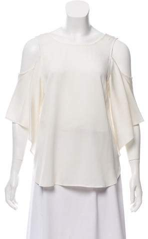 Halston Silk Cold-Shoulder Top w/ Tags