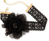 Lydell NYC Statement Flower & Lace Choker Necklace, Black