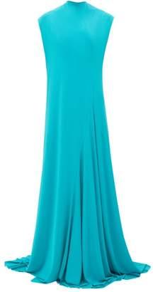 Balenciaga Sleeveless Draped Jersey Gown - Womens - Blue
