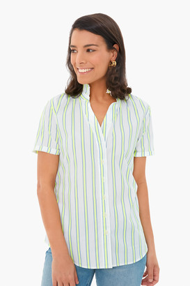 The Shirt By Rochelle Behrens Neon Stripe Short Sleeve Loose Back