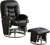Asstd National Brand Boarder Faux-Leather Glider with Ottoman