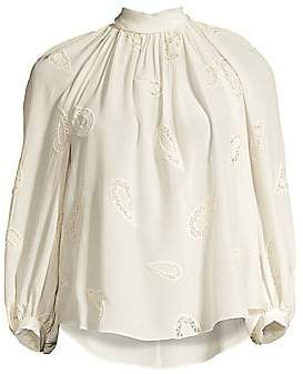 Rebecca Taylor Women's Long-Sleeve Appliqué Top