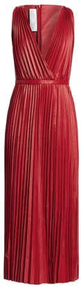 Valentino V-Neck Pleated Leather Maxi Dress