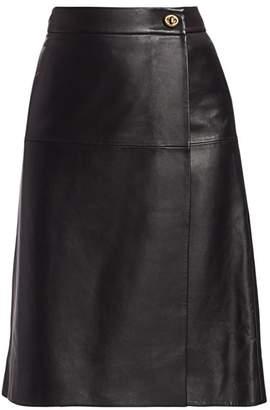 Coach Leather Wrap Skirt
