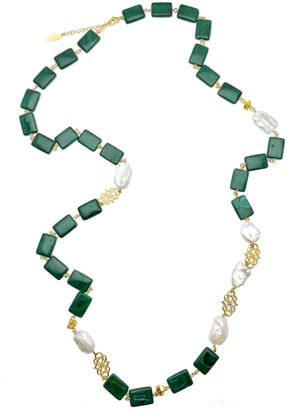 Farra Malachites Flat Stones & Freshwater Pearls Multi-Way Necklace