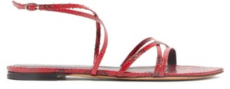 Isabel Marant Apopee Python-effect Leather Sandals - Red