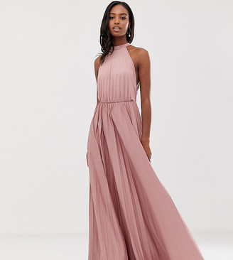 Asos Tall DESIGN Tall Halter Pleated Waisted Maxi Dress-Pink