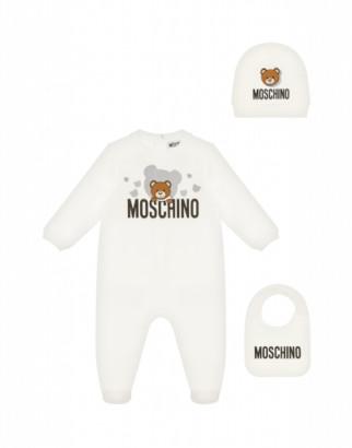 Moschino Teddy Bear Onesie, Bib And Hat Set Unisex White Size 6/9m It