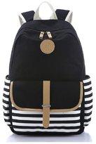 Morrivoe Striped Canvas Shoulder Bag College Wind Backpack 14-inch Laptop Bag Schoolbag for Teenage Girls