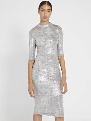 Alice + Olivia Delora Metallic Fitted Midi Dress