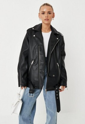 Missguided Black Faux Leather Long Biker Jacket