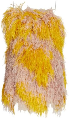 Ralph and Russo Strapless Feather Mini Dress