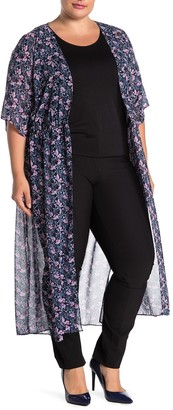 Vince Camuto Charming Floral Chiffon Duster (Plus Size)