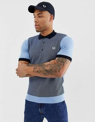 Fred Perry knitted polo in blue