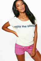 Boohoo Lillie Enjoy The Silence Slogan Tee And Short PJ Set