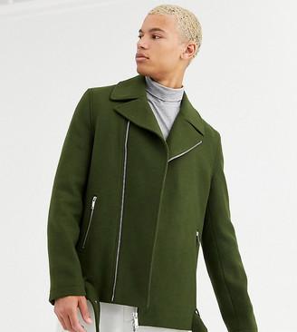 ASOS DESIGN Tall wool mix belted biker jacket in khaki