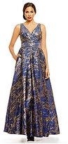 Carmen Marc Valvo Double V-Neck Metallic Jacquard Ball Gown