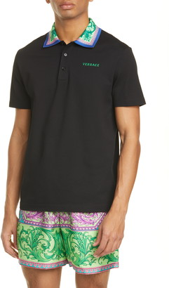 Versace Black Short Sleeve Cotton Polo Shirt