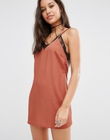 Missguided Satin Lace Trim Cami Dress