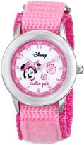 Disney Kids' W000362 Minnie Mouse Stainless Steel Time Teacher Pink Velcro Strap Watch