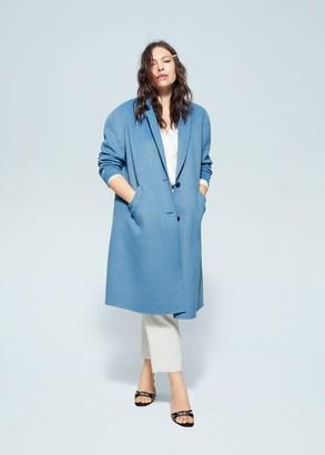 MANGO Violeta BY Handmade wool coat blue - L - Plus sizes