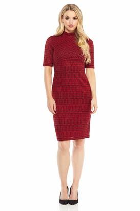London Times Women's Elbow Sleeve High Neck Midi Knit Sheath Dress