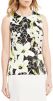 Kasper Abstract Floral-Print Keyhole Cami