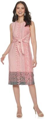 Sharagano Women's Print Tie-Front Midi Dress