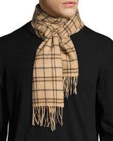 Neiman Marcus Merino Wool Plaid-Print Boxed Scarf, Camel