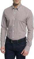 Neiman Marcus Gingham Long-Sleeve Sport Shirt, Brown