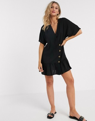 ASOS DESIGN button through wrap mini smock dress with pep hem