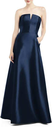 Alfred Sung Strapless Satin Twill Gown
