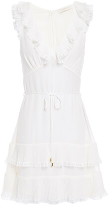 Zimmermann Ruffled Crepe Mini Dress
