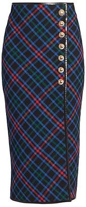 Saint Laurent Plaid Wool Side-Button Midi Skirt