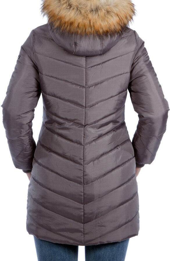 Thumbnail for your product : Modern Eternity Faux Fur Trim Convertible Puffer 3-in-1 Maternity Jacket