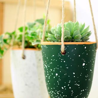 casa atlantica - Medium Green with White Terracotta Mottled Flower Pot - Green / White   terracotta
