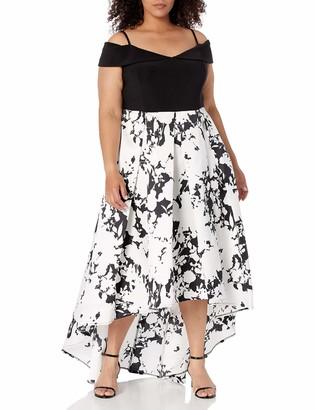Marina Women's Size Plus Printed hi lo Ballgown
