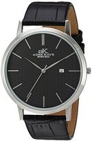 Adee Kaye Men's Quartz Stainless Steel and Leather Casual Watch, Color:Black (Model: AK3331-M/BK)