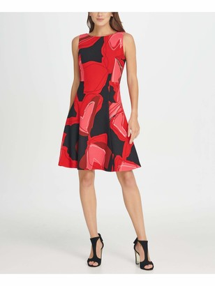 DKNY Womens Red Zippered Printed Sleeveless Jewel Neck Above The Knee Fit + Flare Cocktail Dress Size: 6